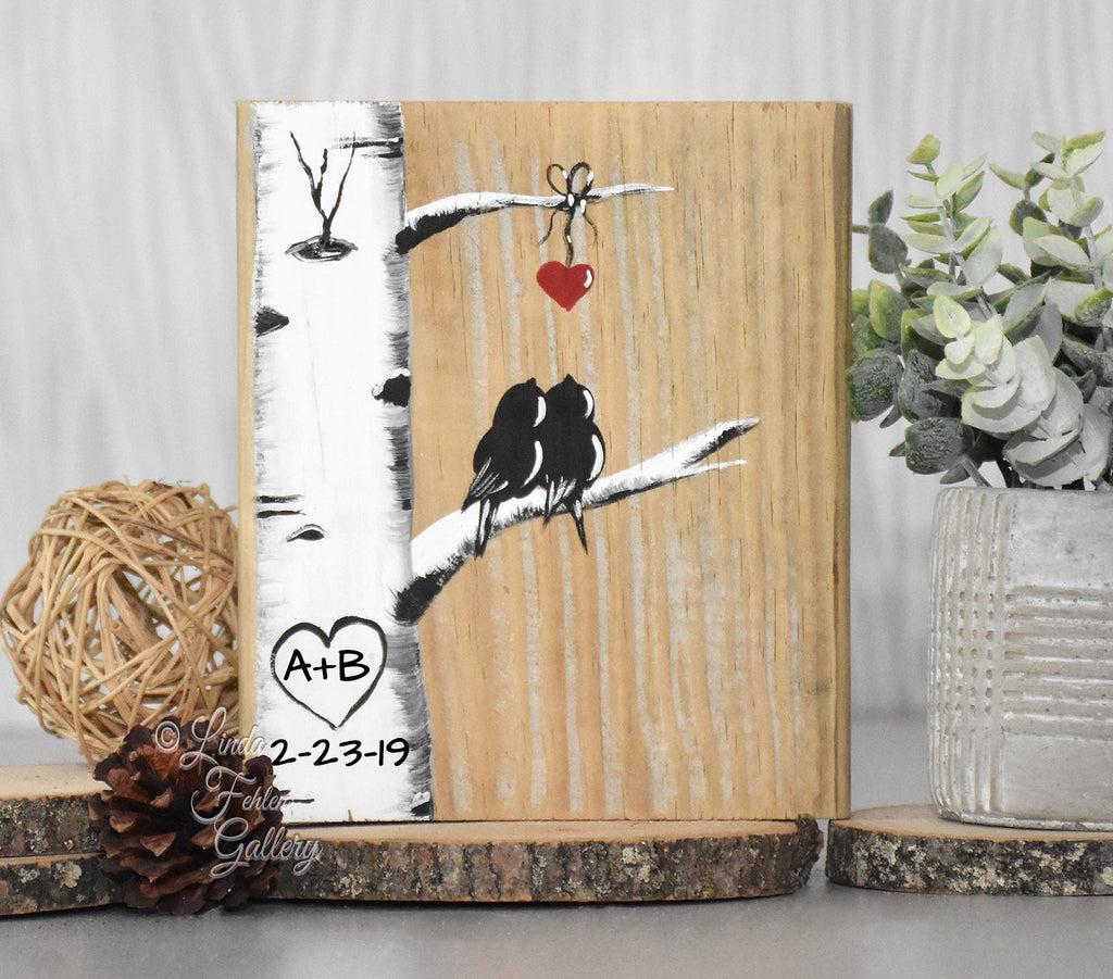 Perfect 5th Anniversary Gift For Her Lovebirds And Aspen Tree