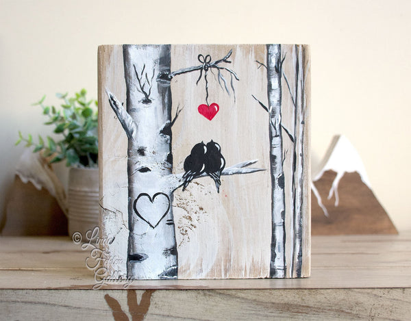 Perfect 5th Anniversary Gift for Her - Lovebirds and Aspen Tree Painting on Wood - Linda Fehlen Gallery