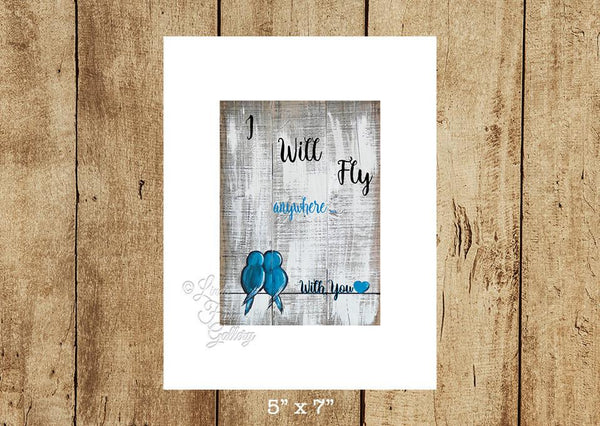 """I Will Fly Anywhere"" Lovebirds Art Print"