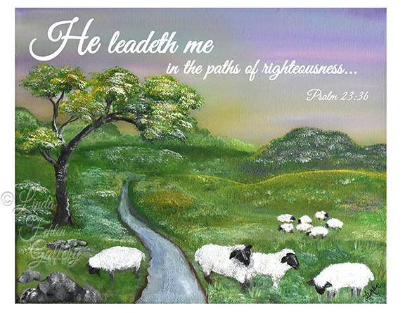 Psalm 23 Art Print Sheep painting sheep print