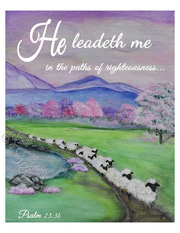 """He Leadeth Me""  Psalm 23:3 - Art Print- ""Sheep on a Path"" - Linda Fehlen Gallery"