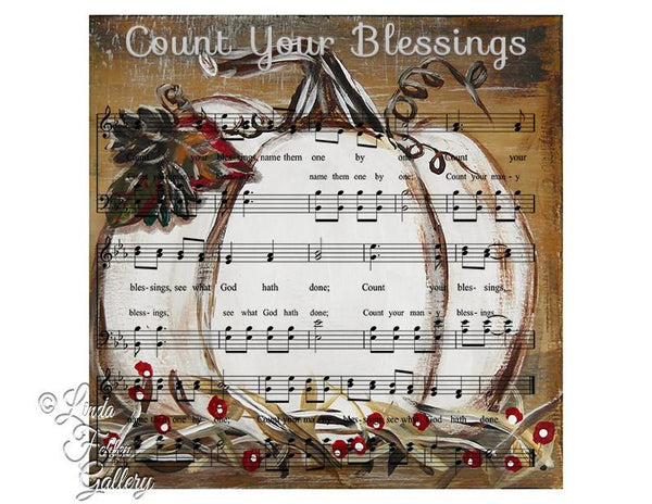 Count Your Blessings -  White Pumpkin Fall Art Print - Linda Fehlen Gallery