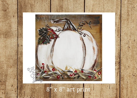 White Pumpkin Fall Art Print - Linda Fehlen Gallery