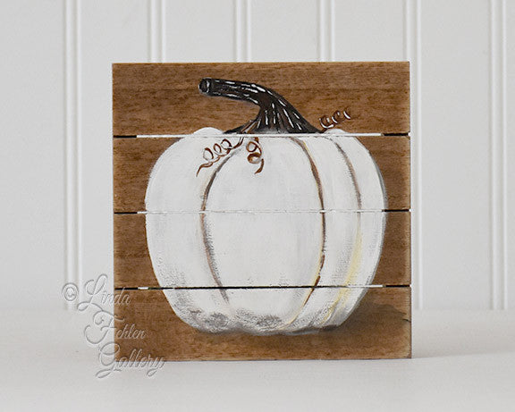 White Pumpkin wood painting