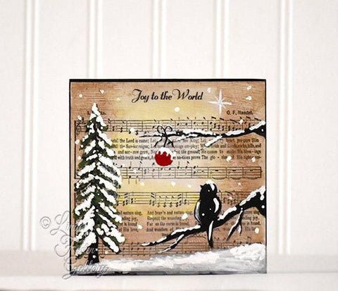 Christmas Music Art Joy to the World - Art Block Shelf Sitter - - Linda Fehlen Gallery