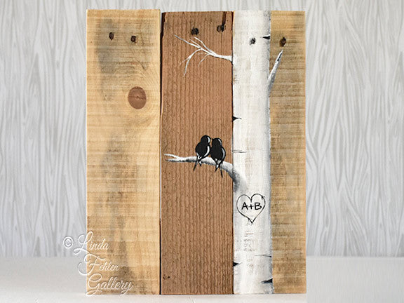 Rustic Farmhouse Style Love Birds on Birch Tree Painting Painting on  Reclaimed Wood, Personalization Available