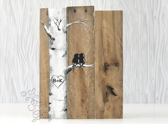 Rustic Farm House Style Love Birds in Birch Tree Painting on Reclaimed Wood - Linda Fehlen Gallery