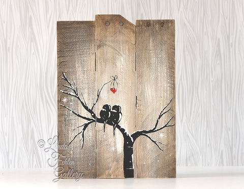 Reclaimed Wood Rustic Farmhouse Style Winter Love Birds on a Tree Painting