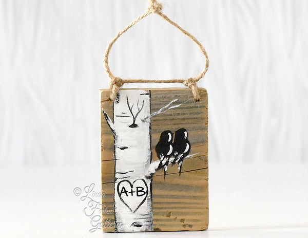 rustic wood ornament gift for couple