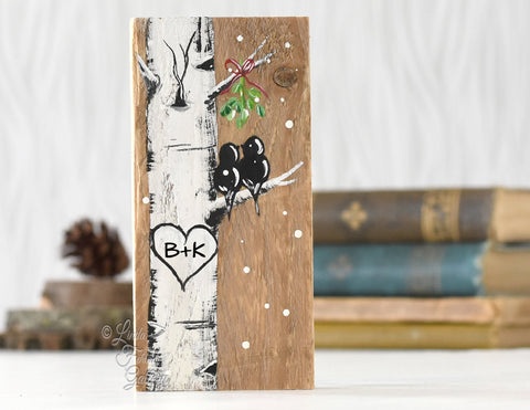 Rustic Wood Christmas Gift Mini Birch Tree Sign with Love Birds and Mistletoe Painting - Linda Fehlen Gallery