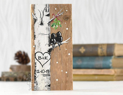Personalized Rustic Wood Christmas Gift | Mini Birch Tree Sign with Love Birds and Mistletoe Painting | Initials in heart - Linda Fehlen Gallery