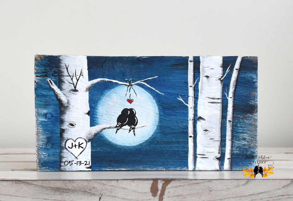 Blue personalized aspen tree painting with initials and date