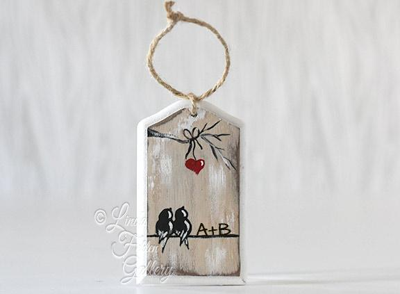 Christmas Ornament for Couple - Wood Holiday Ornament with Birds