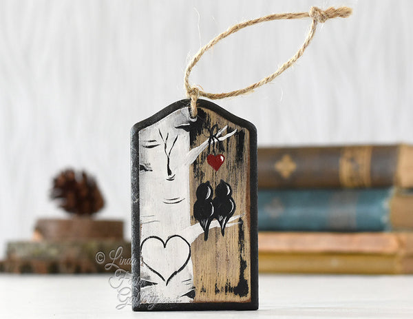 Rustic Wood Love Ornament Birds in Tree