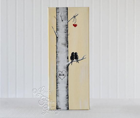 Love Birds on an Aspen/Birch Tree Branch Painting - Linda Fehlen Gallery