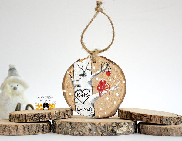 Personalized Colorado Aspen Tree with Initials in Heart Ornament - Linda Fehlen Gallery