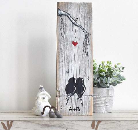 Valentines Gift for Him or Her - Farmhouse Style Love Birds Painting on Rustic Wood - Linda Fehlen Gallery