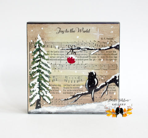 Joy to the World Christmas Hymn Original Painting - Linda Fehlen Gallery