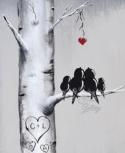 Personalized Valentines Painting with initials in a Heart by Linda Fehlen Gallery - Linda Fehlen Gallery