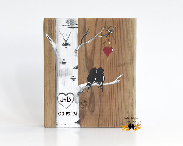 birch tree love birds painting