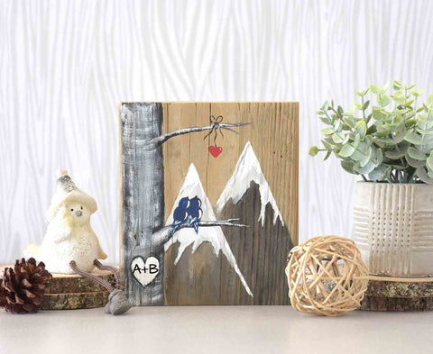 Wood Mountains Painting with Love Birds -  A Perfect Bridal Shower Gift! - Linda Fehlen Gallery