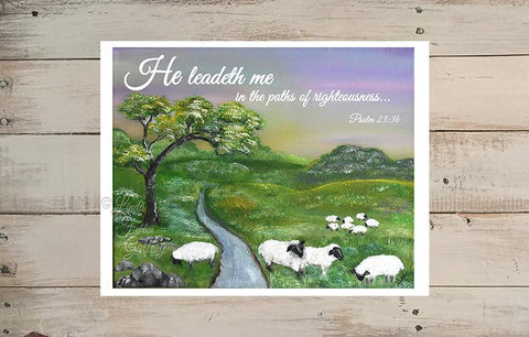 """He Leadeth Me""  Psalm 23:3 - Art Print Landscape with Sheep - Linda Fehlen Gallery"