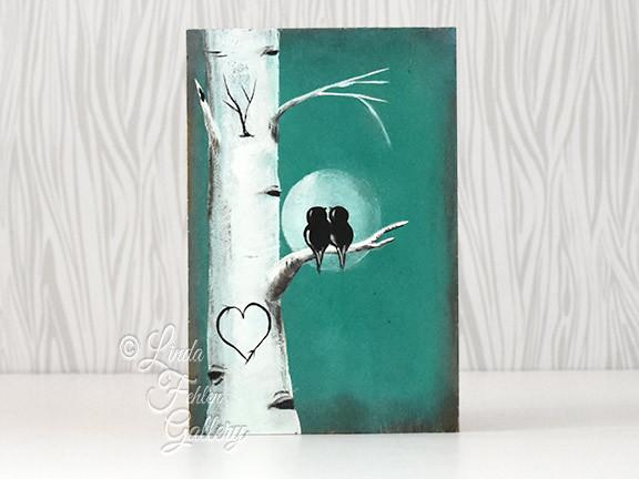 Wedding Gift Paintings: Love Birds In The Moon Light