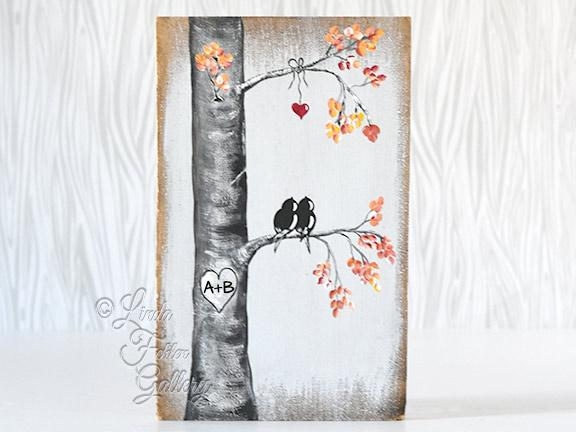 Black Love Birds Painting on Wood  - A Perfect 5th Anniversary Gift!