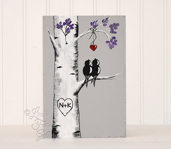 wood love bird paintings