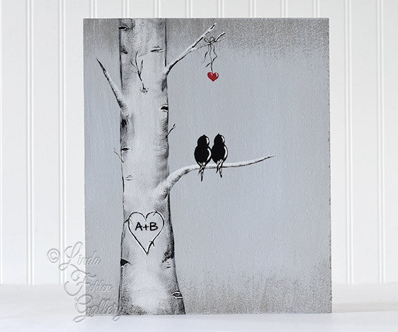 Personalized white birch tree painting with birds available on lindafehlengallery.com