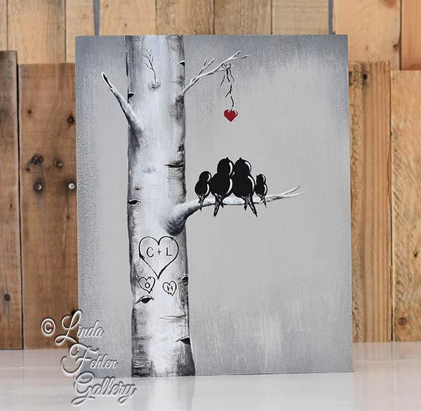 Personalized Love Bird Painting for your Family - Love Birds with Hearts on Tree Branch