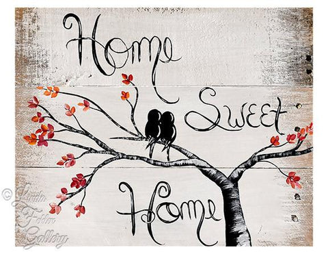 Home Sweet Home with Love Birds, Fall Colors,  Art Print - Linda Fehlen Gallery