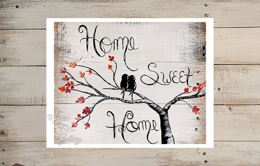 Home Sweet Home with Love Birds Fall Colors Art Print Linda