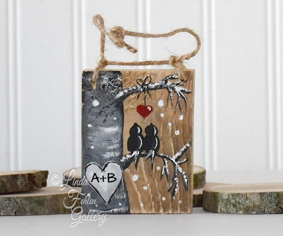Love Birds Wintery Reclaimed Wood Ornament