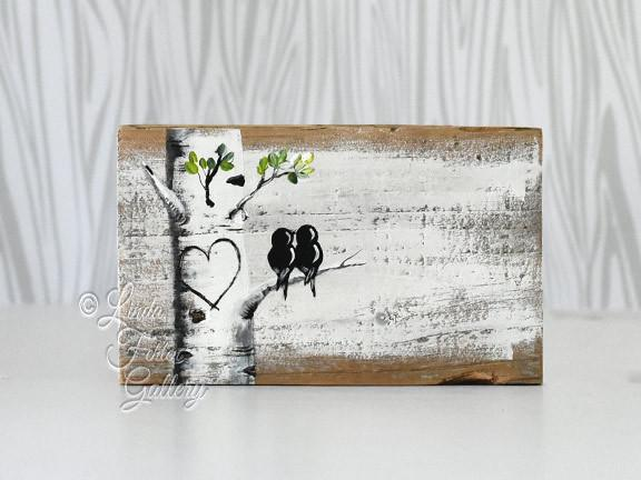 Aspen Tree with Love Birds Painting