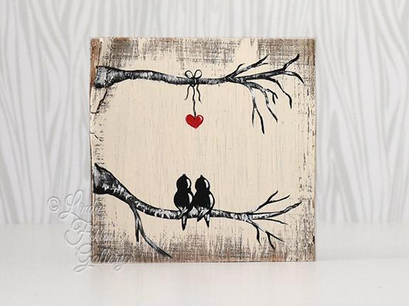 Love Birds Painting on Reclaimed Wood - 5th Anniversary Gift for Him or Her - Linda Fehlen Gallery