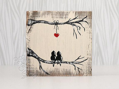 love birds with heart painting on reclaimed wood
