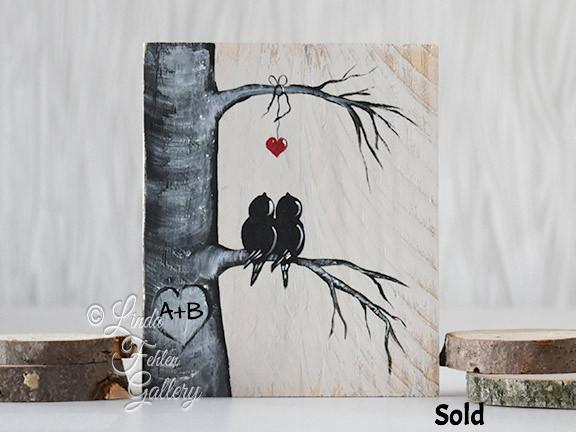 Perfect 5th Anniversary Gift for Her - Lovebirds in Colorado Aspen Tree Painting - Linda Fehlen Gallery