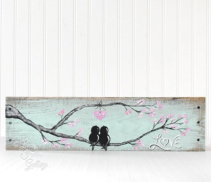 Mint and Pink Lovebirds Painting on Wood