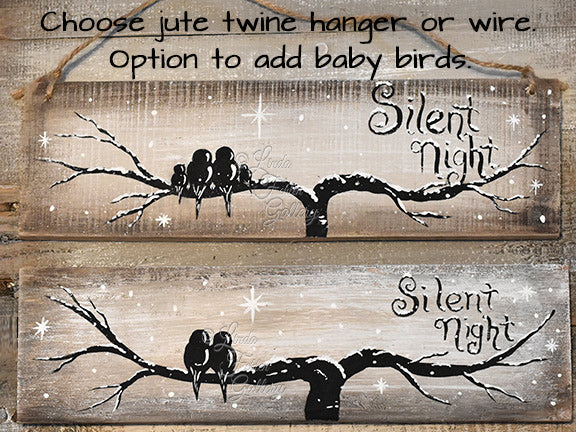 Love Birds on a Silent Night -  Reclaimed Wood Sign - Linda Fehlen Gallery