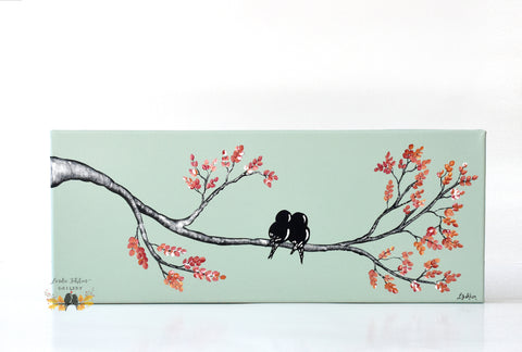 Original Love Birds Canvas Painting - Linda Fehlen Gallery