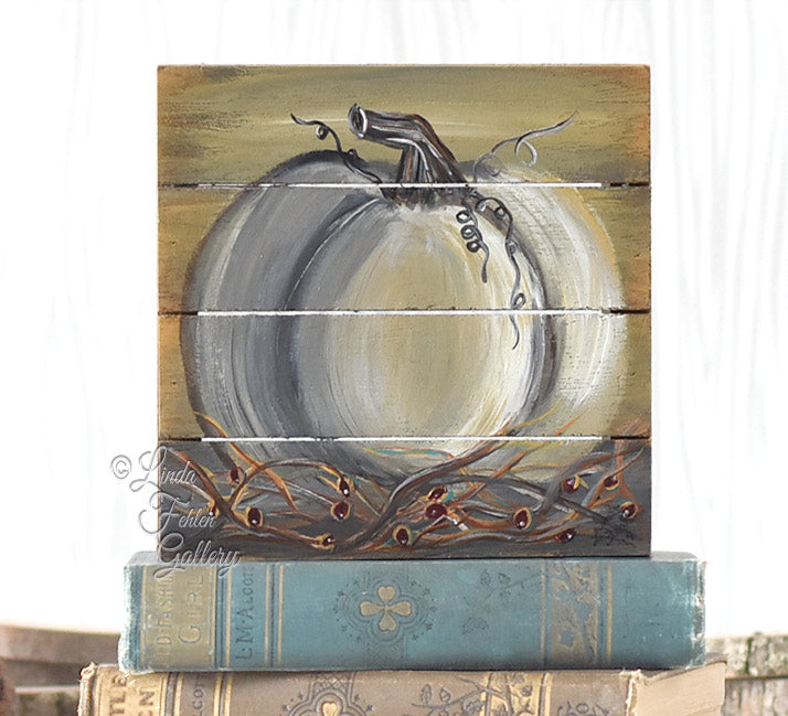 White Pumpkin Cradled Art Block, Shelf sitter