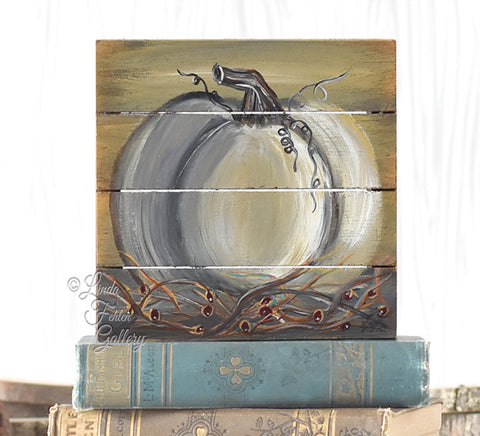 White Pumpkin Cradled Art Block, Shelf sitter - Linda Fehlen Gallery