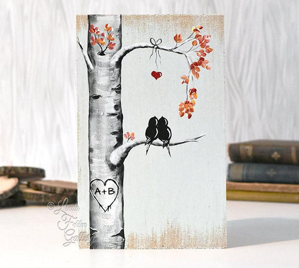 Love bird painting on wood