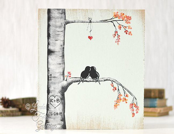 Aspen tree with initials and heart painting
