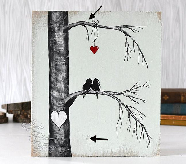 Custom Order -Wood Painting of Love Birds in a Tree