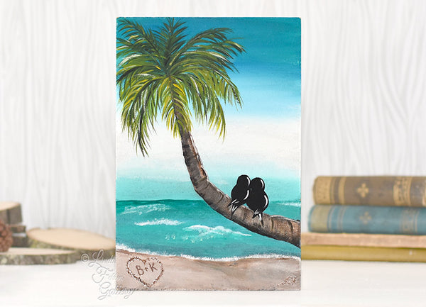 Tropical Painting with Palm Tree and Love Birds