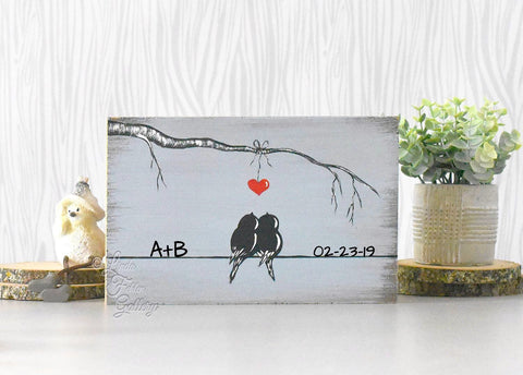 Gray Blue Painting on Wood - Valentines Day Gift for lovebirds - Linda Fehlen Gallery