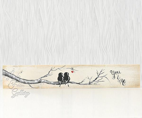 painting on reclaimed wood love birds