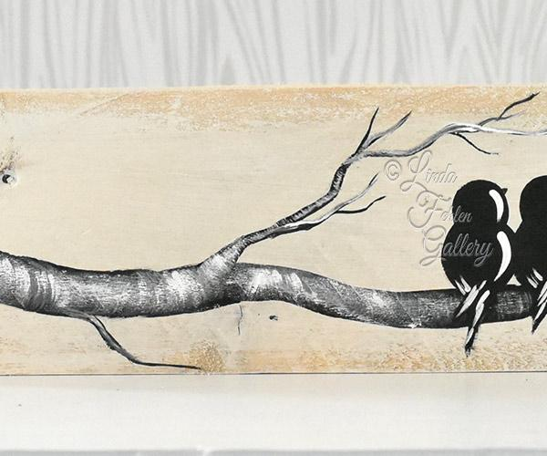 """You & Me"", Love Birds on a Branch Painting - Linda Fehlen Gallery"